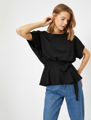Koton Beli Baglamali T-Shirt Siyah
